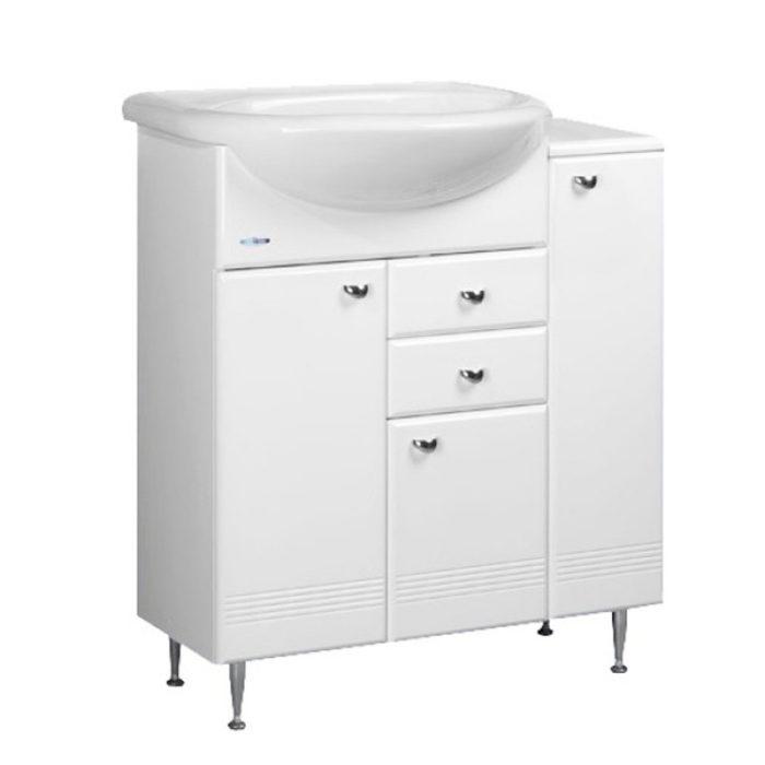 Тумба для ванной АСТУРИЯ 75см с приставным столом белая